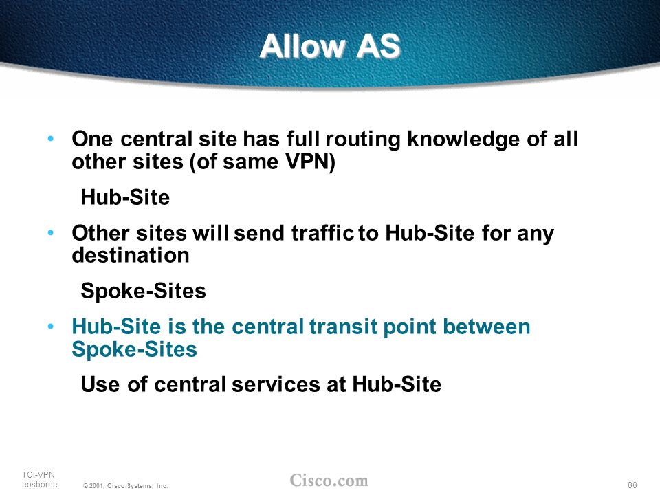 Allow AS One central site has full routing knowledge of all other sites (of same VPN) Hub-Site.