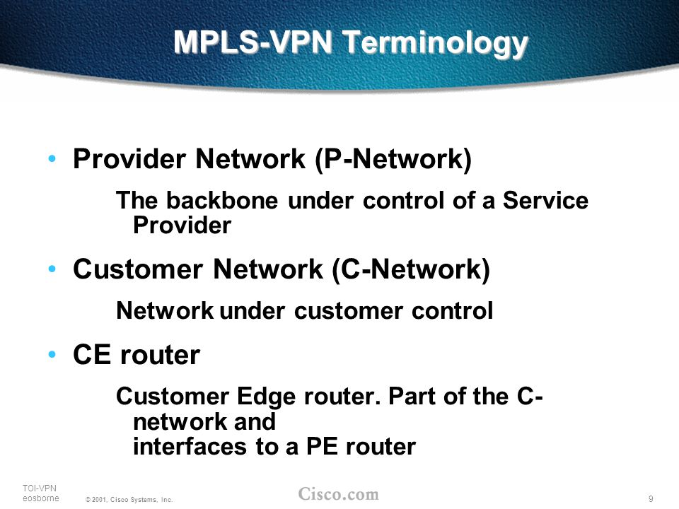 MPLS-VPN Terminology Provider Network (P-Network)