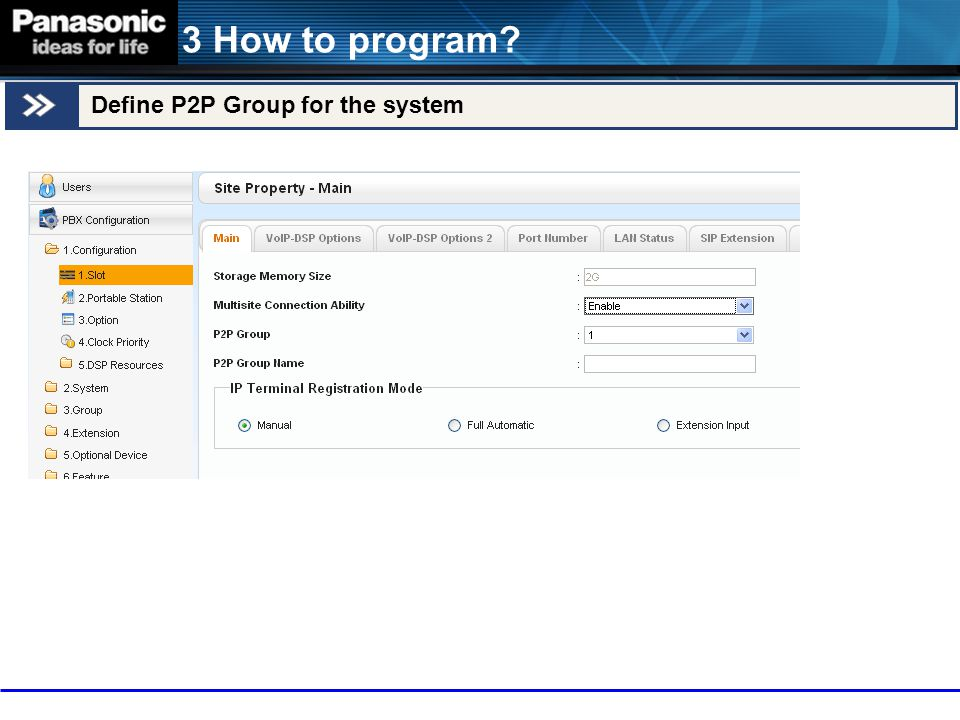 3 How to program Define P2P Group for the system