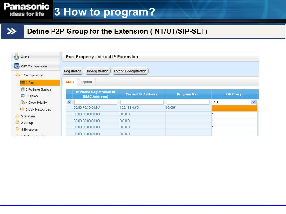 3 How to program Define P2P Group for the Extension ( NT/UT/SIP-SLT)
