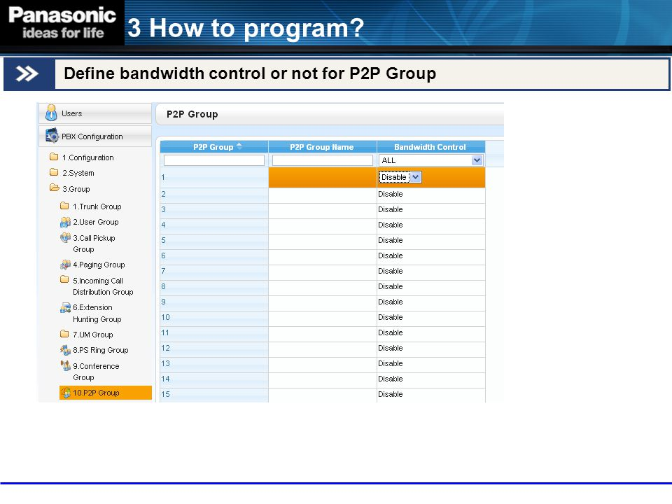 3 How to program Define bandwidth control or not for P2P Group