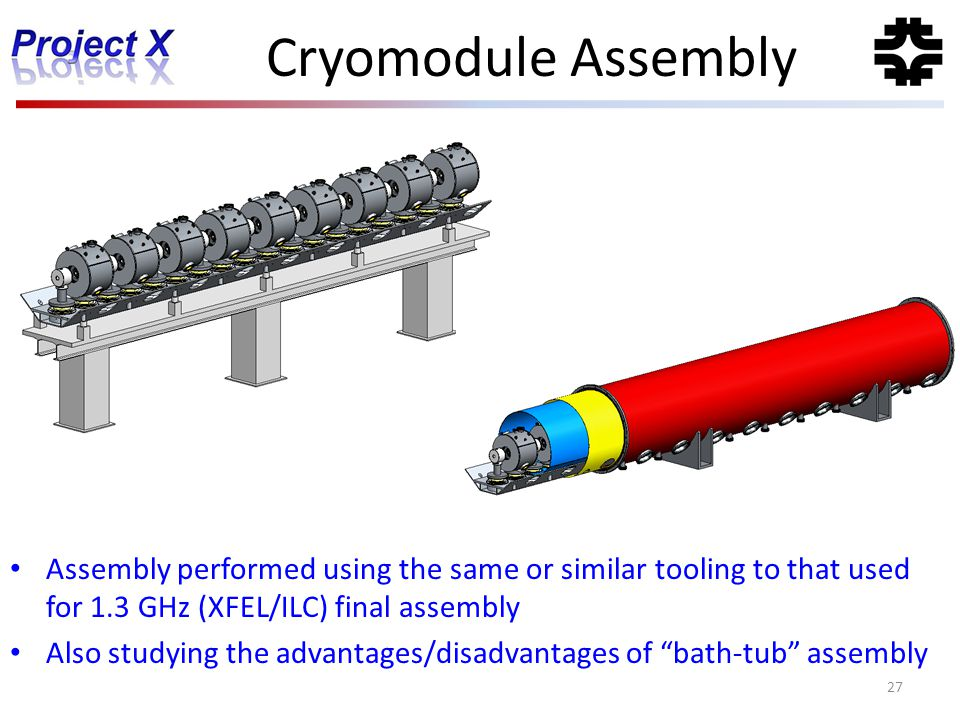 Cryomodule Assembly Assembly performed using the same or similar tooling to that used for 1.3 GHz (XFEL/ILC) final assembly.