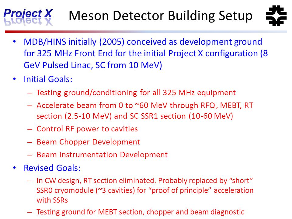 Meson Detector Building Setup
