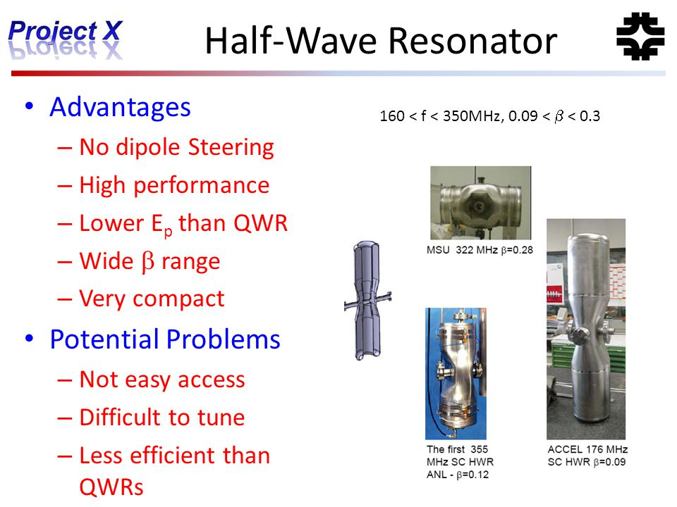 Half-Wave Resonator Advantages Potential Problems No dipole Steering