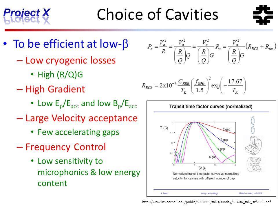 Choice of Cavities To be efficient at low-b Low cryogenic losses