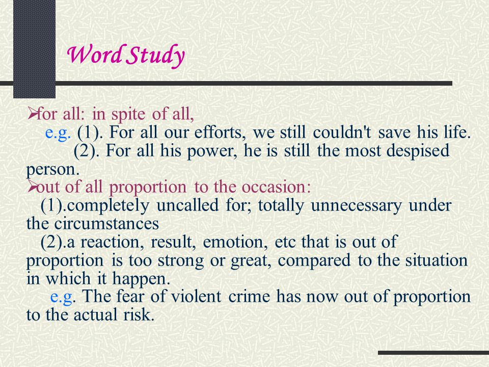 Word Study for all: in spite of all,
