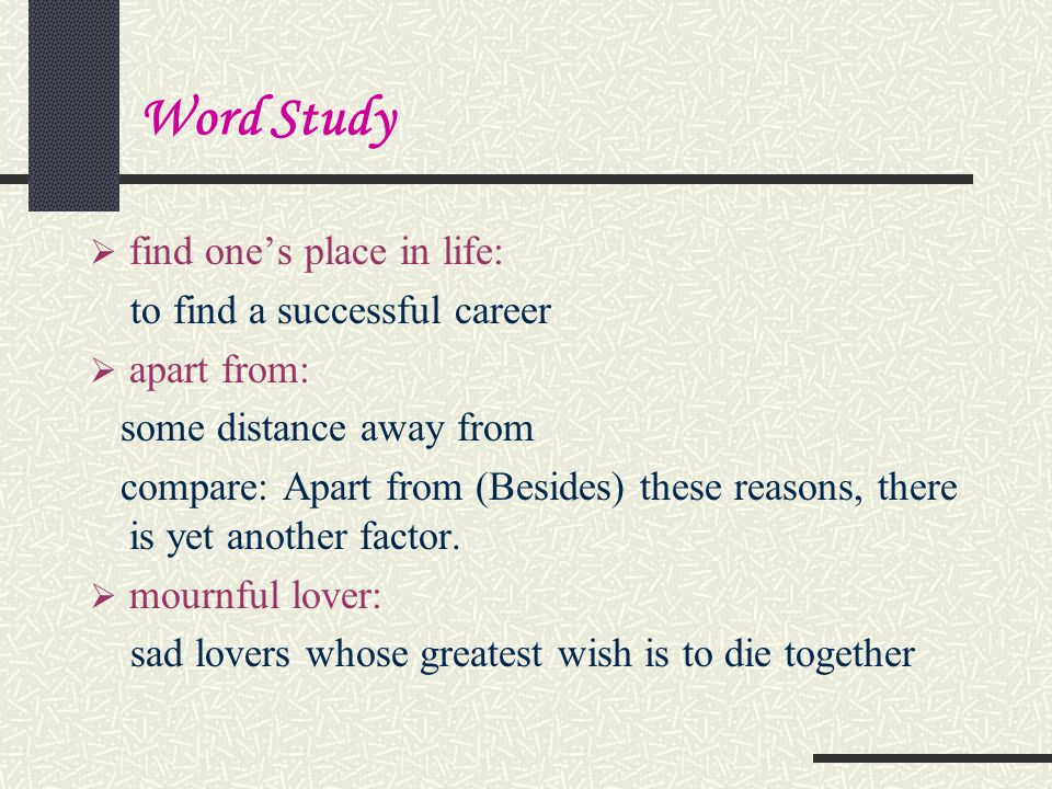 Word Study find one's place in life: to find a successful career