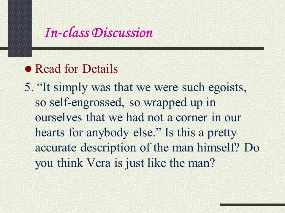 In-class Discussion Read for Details.