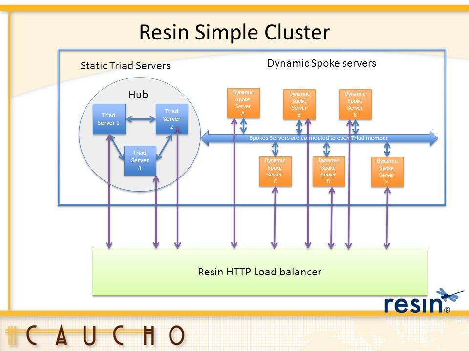 Resin Simple Cluster Dynamic Spoke servers Static Triad Servers Hub