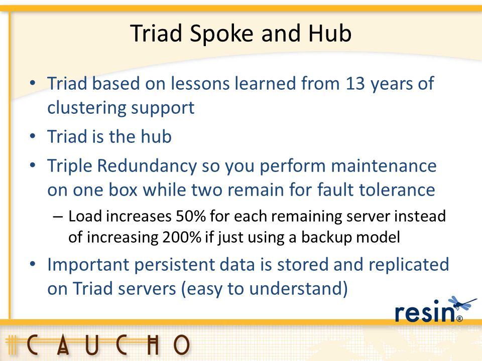 Triad Spoke and Hub Triad based on lessons learned from 13 years of clustering support. Triad is the hub.