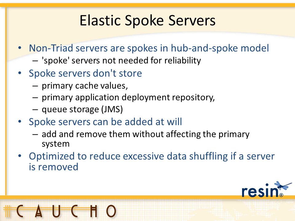Elastic Spoke Servers Non-Triad servers are spokes in hub-and-spoke model. spoke servers not needed for reliability.