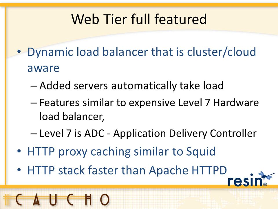 Web Tier full featured Dynamic load balancer that is cluster/cloud aware. Added servers automatically take load.