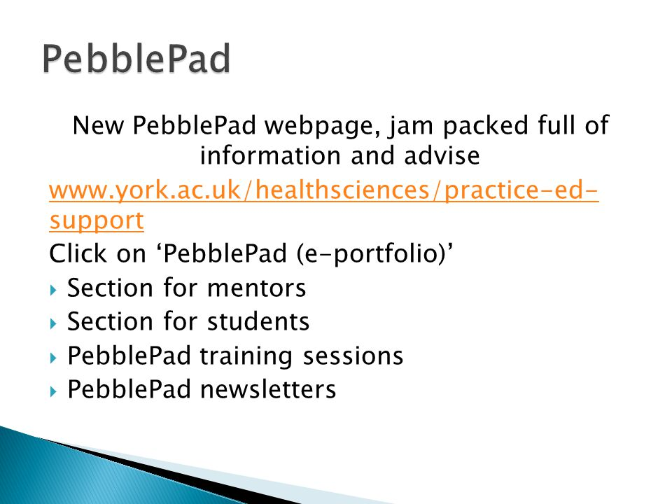 New PebblePad webpage, jam packed full of information and advise