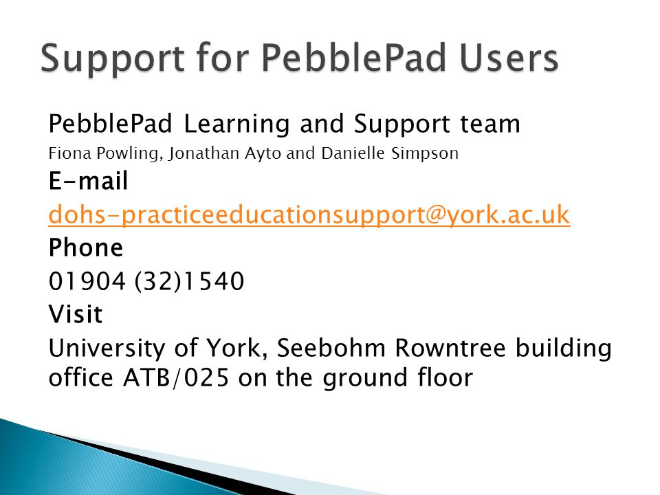 Support for PebblePad Users
