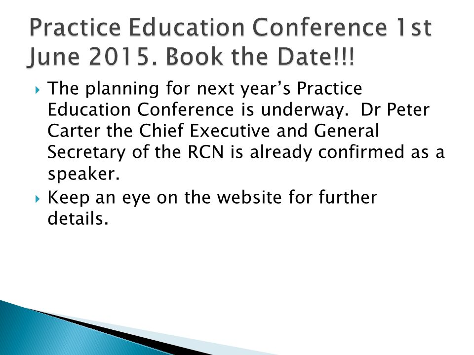 Practice Education Conference 1st June 2015. Book the Date!!!