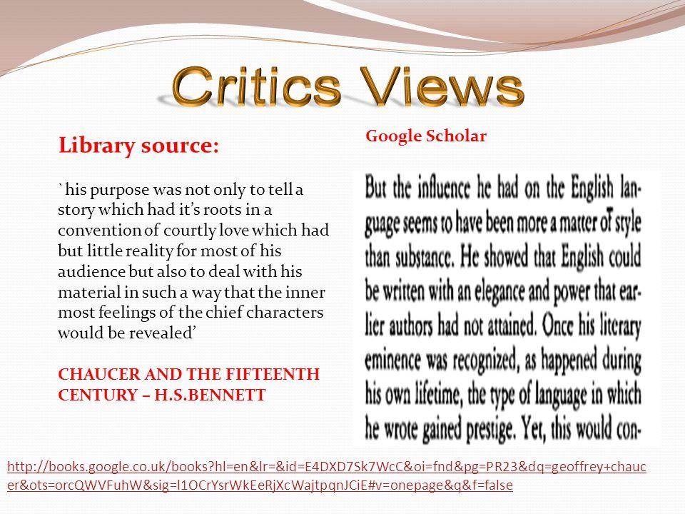 Critics Views Library source: Google Scholar