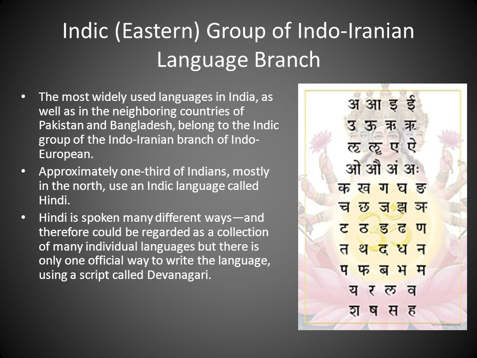 Indic (Eastern) Group of Indo-Iranian Language Branch