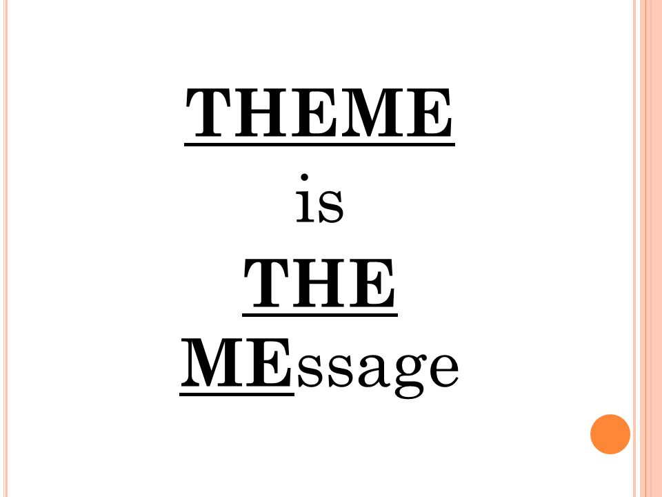 THEME is THE MEssage