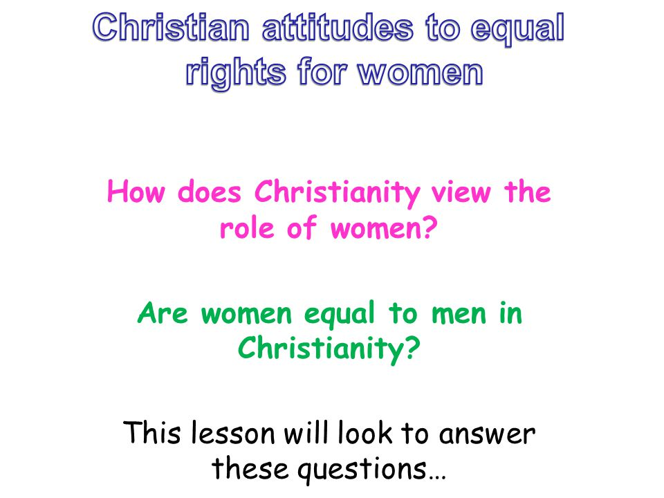 Christian attitudes to equal rights for women