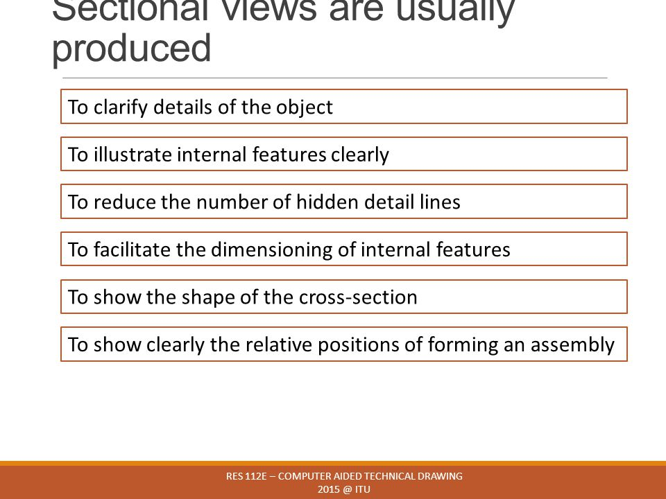 Sectional views are usually produced