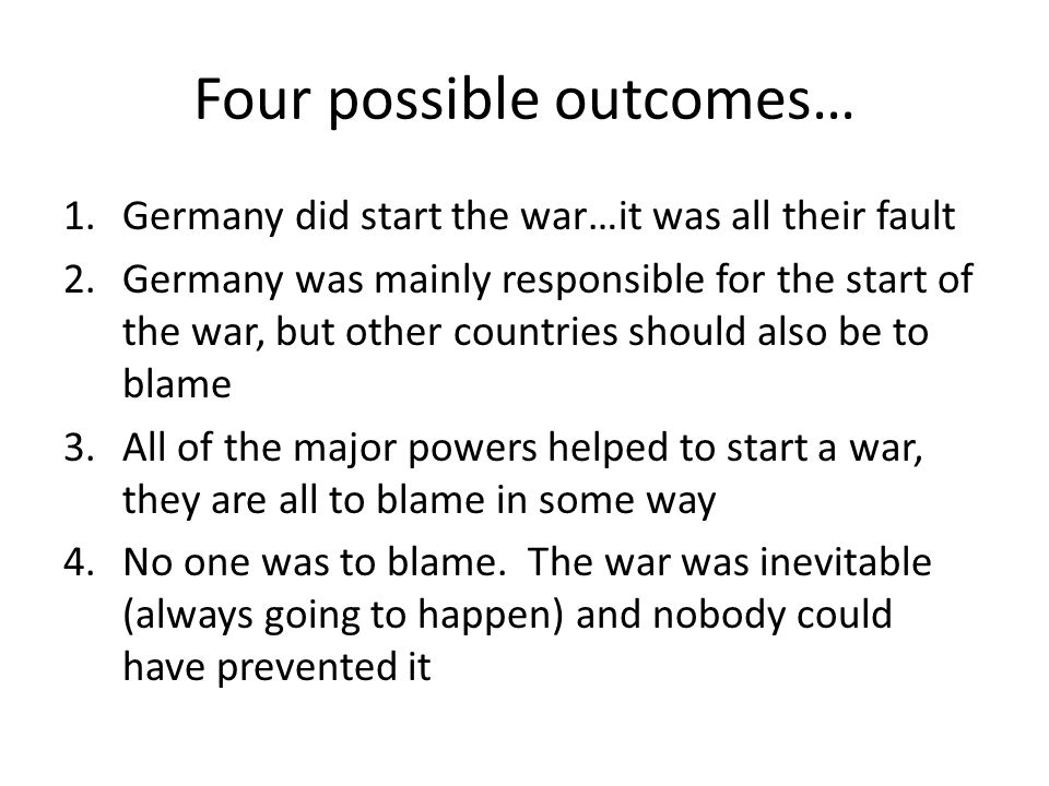 Four possible outcomes…