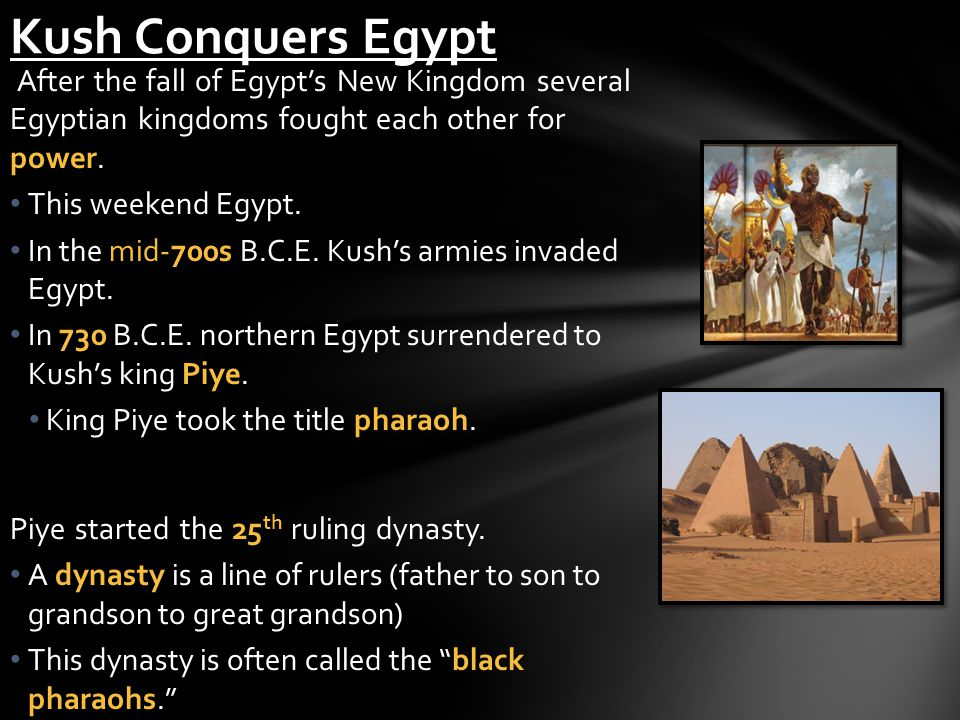Kush Conquers Egypt After the fall of Egypt's New Kingdom several Egyptian kingdoms fought each other for power.