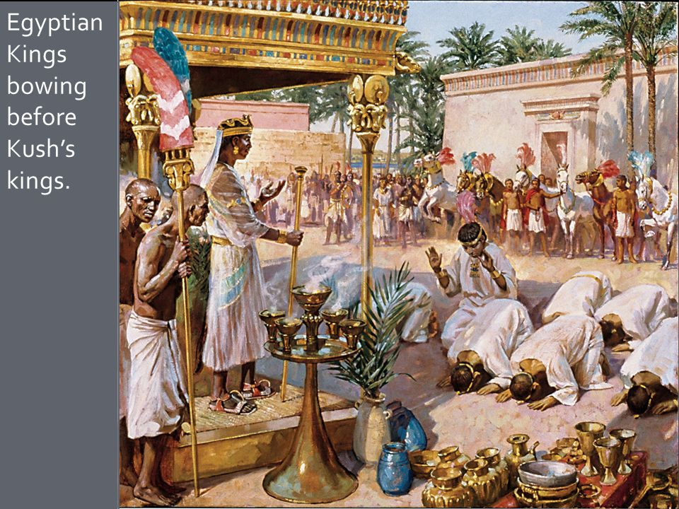 Egyptian Kings bowing before Kush's kings.