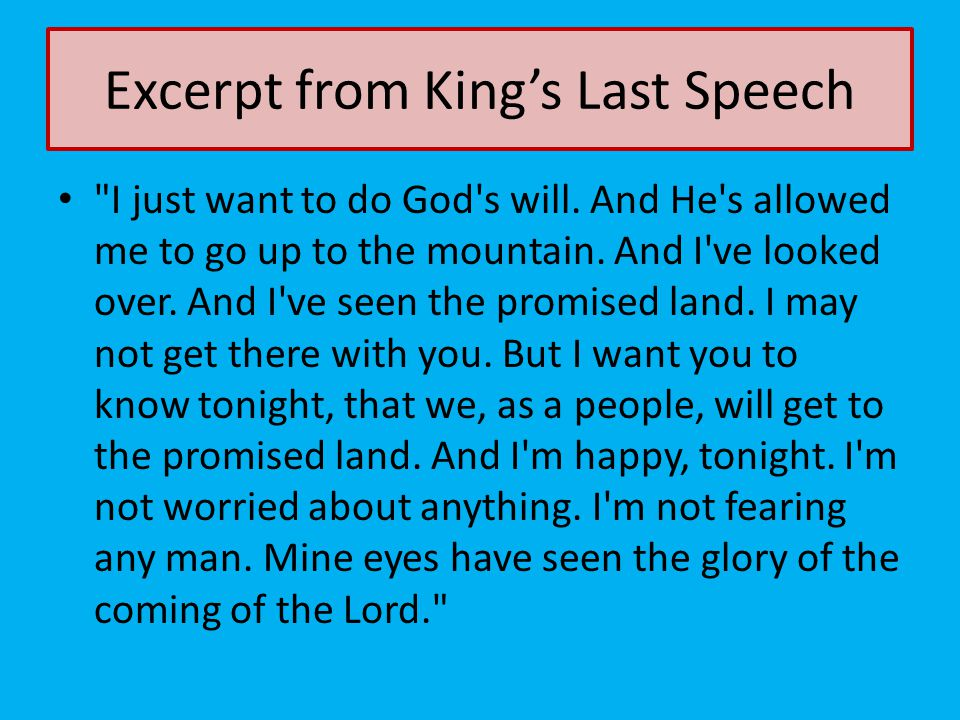 Excerpt from King's Last Speech