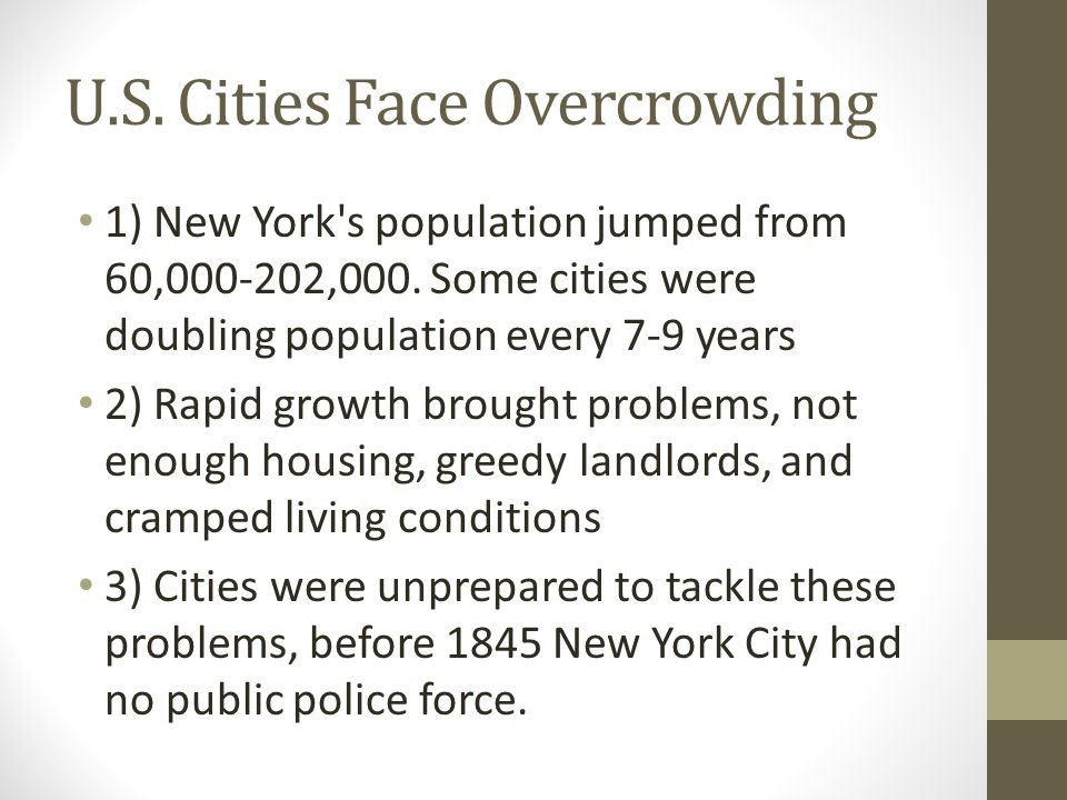 U.S. Cities Face Overcrowding