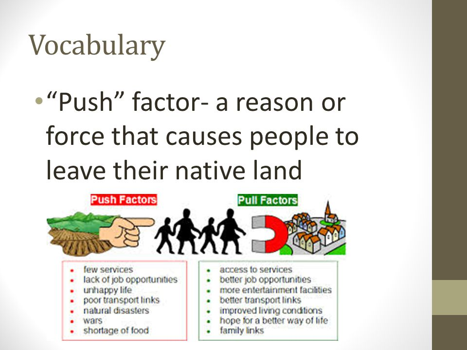 Vocabulary Push factor- a reason or force that causes people to leave their native land