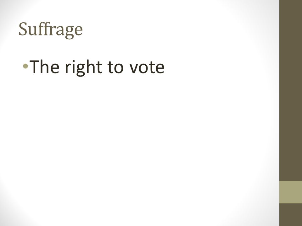 Suffrage The right to vote
