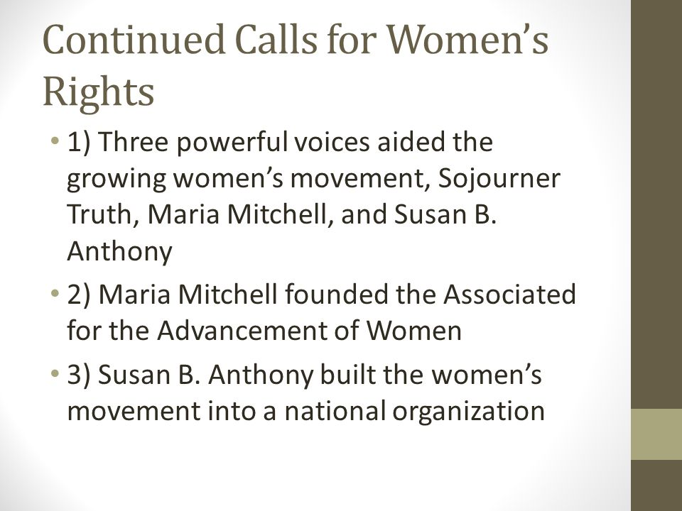 Continued Calls for Women's Rights