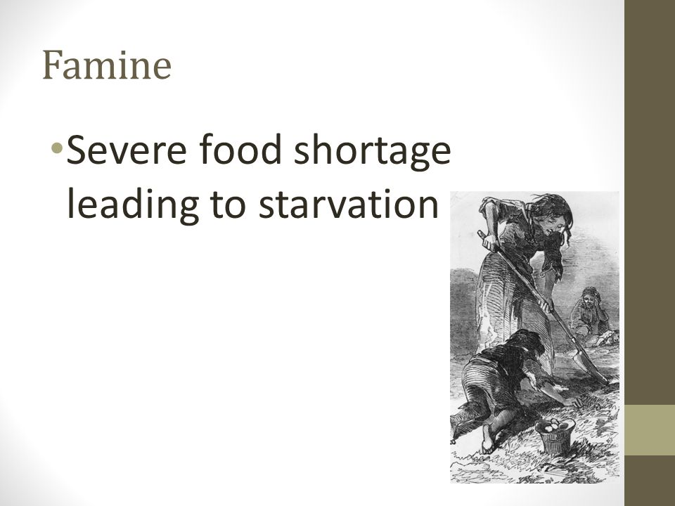 Severe food shortage leading to starvation