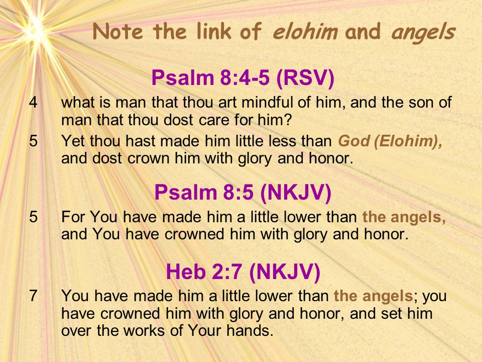 Note the link of elohim and angels