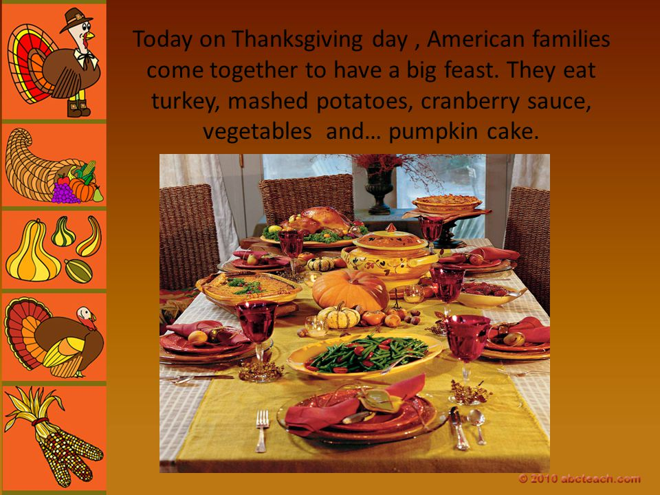 Today on Thanksgiving day , American families come together to have a big feast.