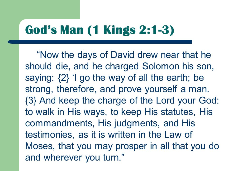 God's Man (1 Kings 2:1-3)