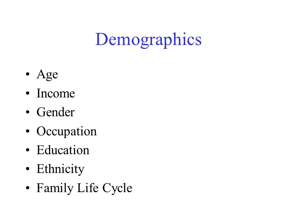 Demographics Age Income Gender Occupation Education Ethnicity