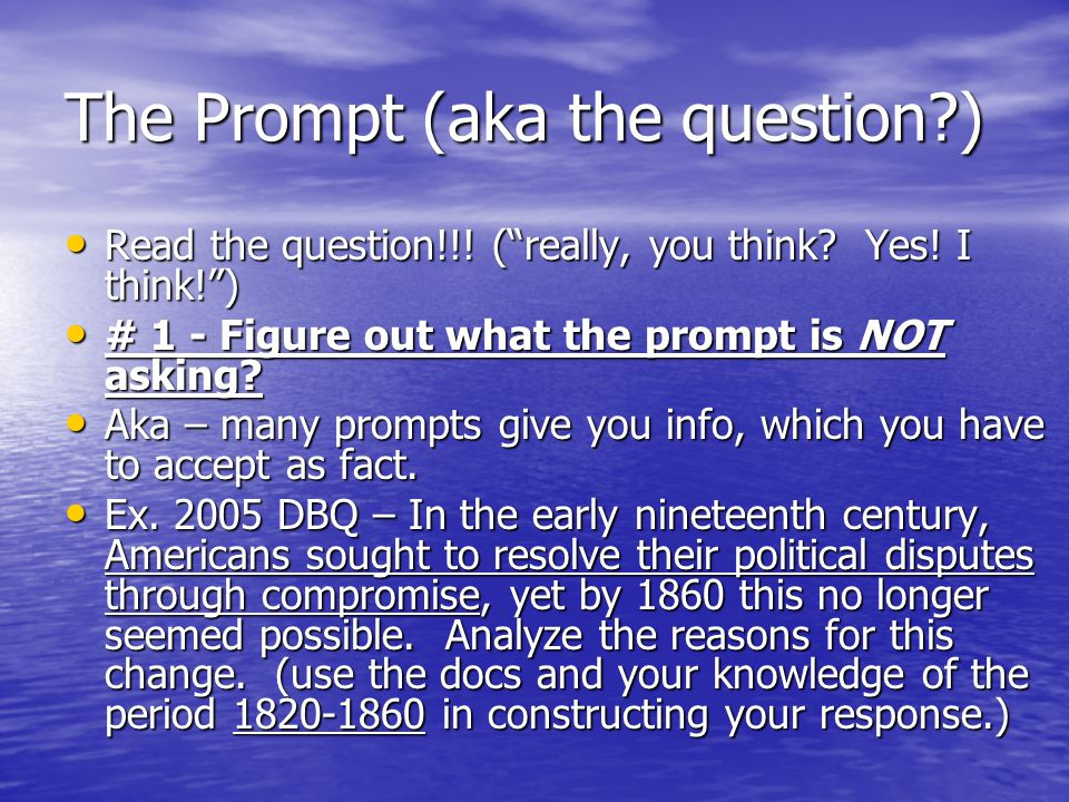 The Prompt (aka the question )