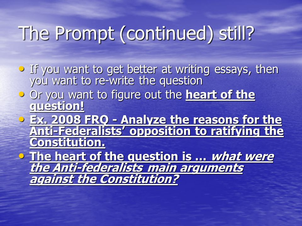 The Prompt (continued) still