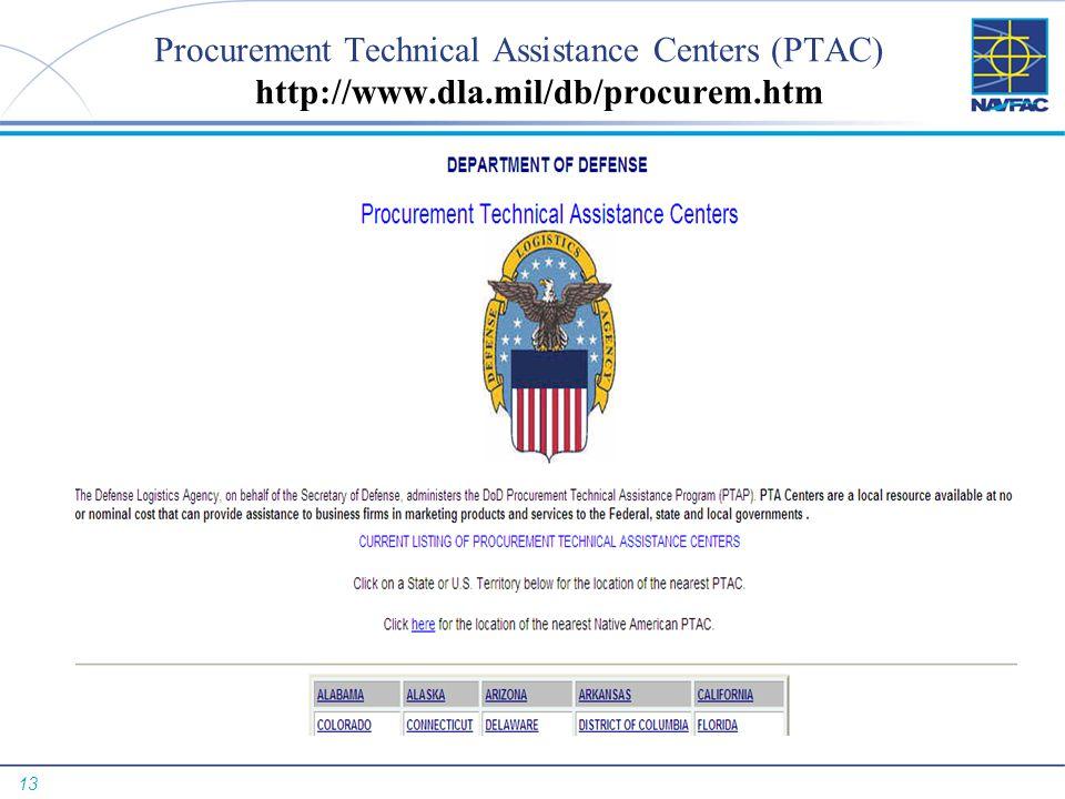 Procurement Technical Assistance Centers (PTAC) http://www. dla