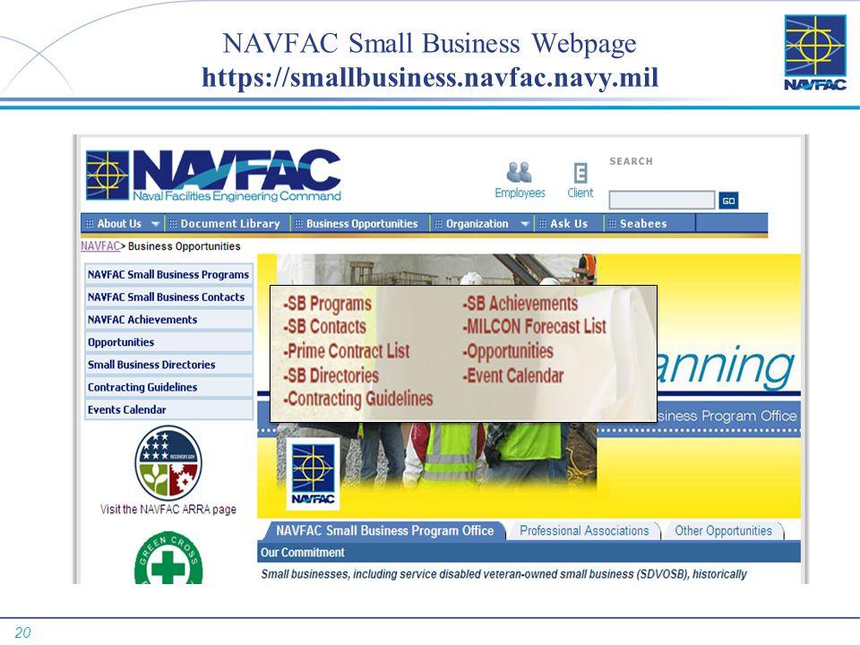 NAVFAC Small Business Webpage https://smallbusiness.navfac.navy.mil