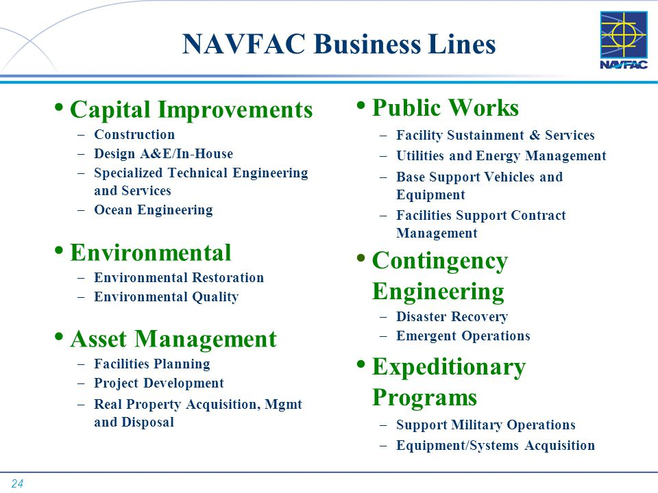 NAVFAC Business Lines Capital Improvements Public Works Environmental