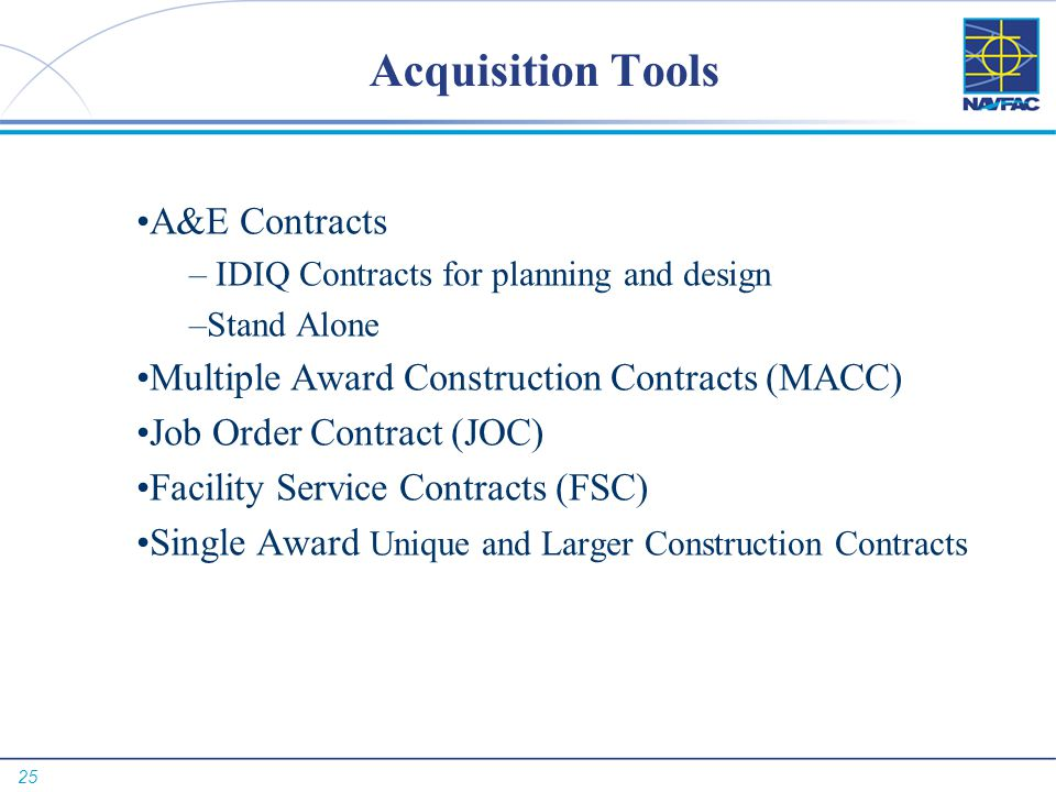 Acquisition Tools A&E Contracts