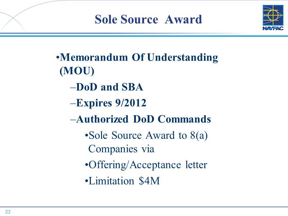 Sole Source Award Memorandum Of Understanding (MOU) DoD and SBA