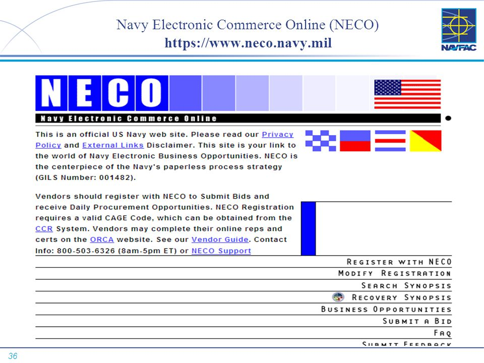 Navy Electronic Commerce Online (NECO) https://www.neco.navy.mil