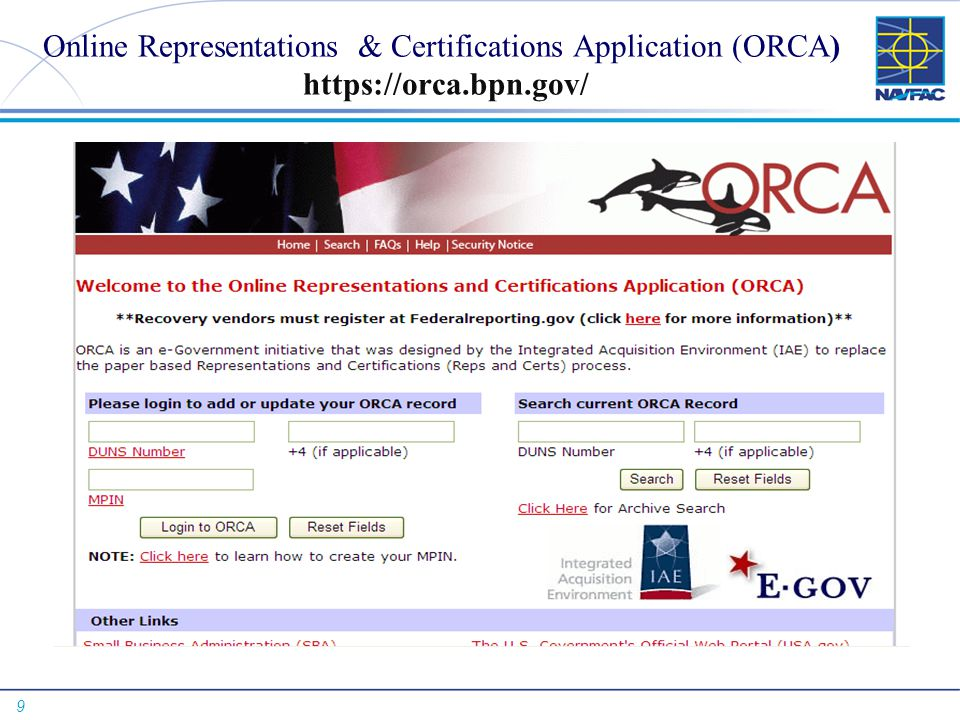Online Representations & Certifications Application (ORCA) https://orca.bpn.gov/