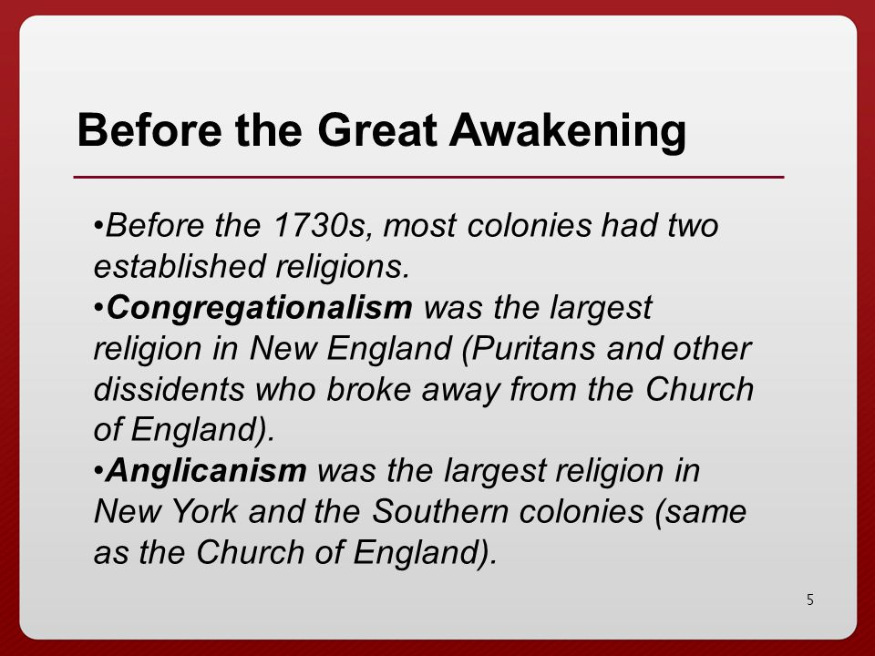 Before the Great Awakening
