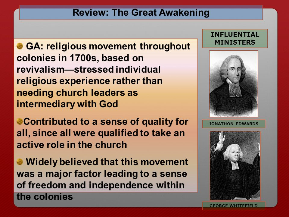 Review: The Great Awakening INFLUENTIAL MINISTERS