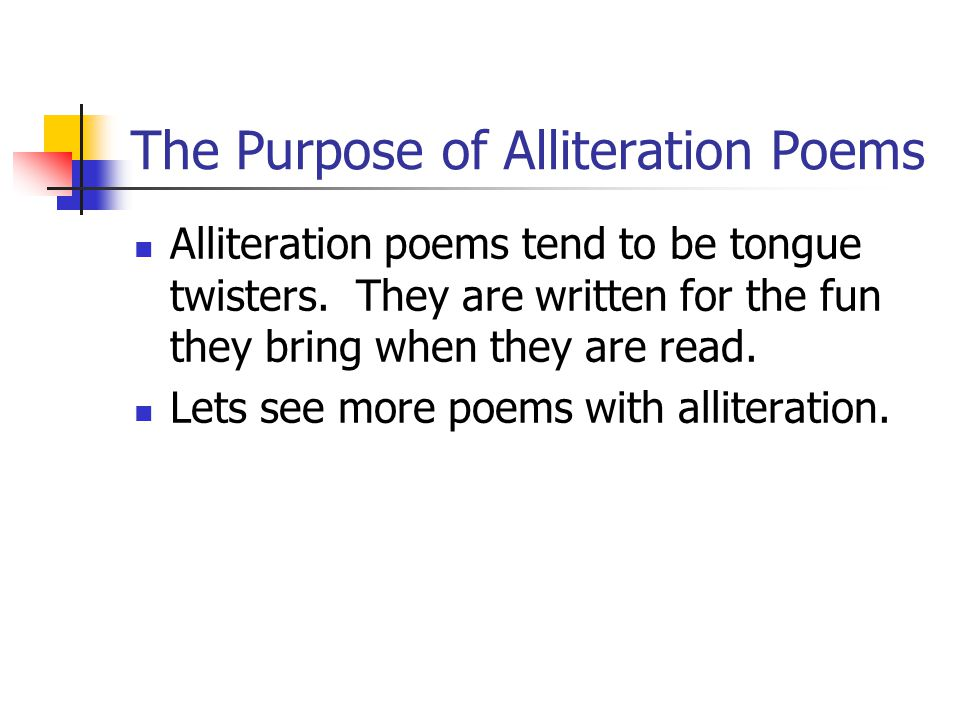 The Purpose of Alliteration Poems