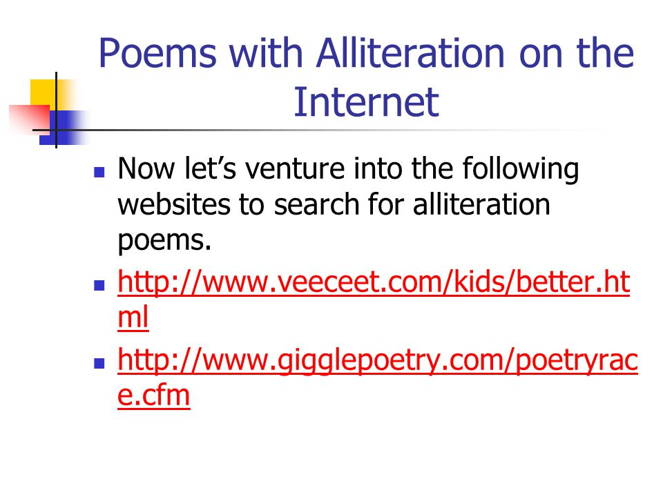 Poems with Alliteration on the Internet